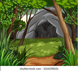 Background scene with cave in forest illustration