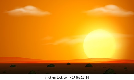 Background scene with field at sunset illustration