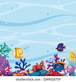 Background scene with fish and coral underwater illustration