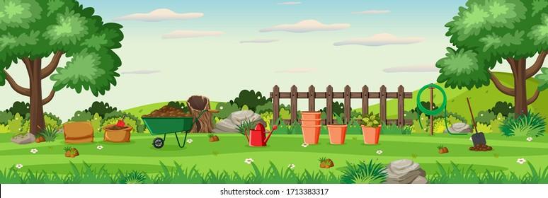 Background scene with gardening equipments in the garden illustration