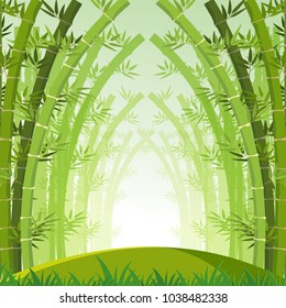 Background scene with green bamboo forest illustration