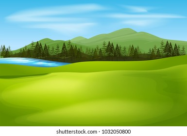 Background scene with green field illustration