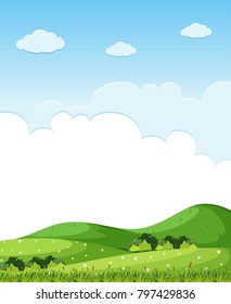 Background scene with green grass on the hills illustration