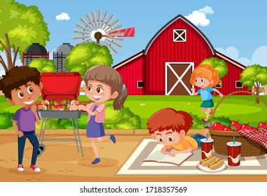 Background scene with kids eating in the park illustration