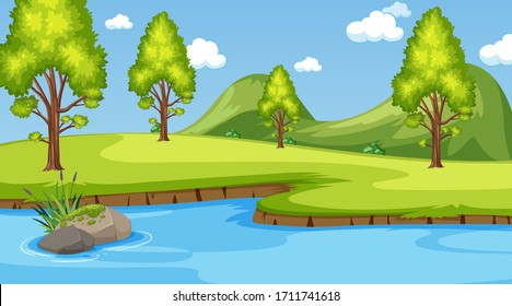 Background scene with many trees in the park illustration