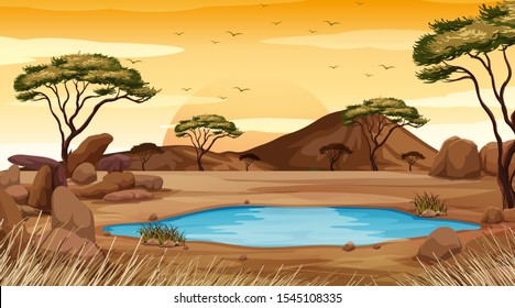 Background scene with pond in the desert land illustration