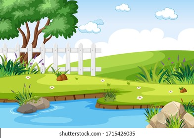Background scene with pond in the park illustration