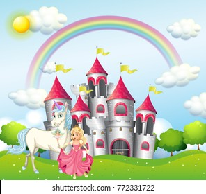 Background scene with princess and unicorn at pink castle illustration
