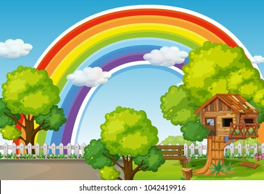 Background scene with rainbow and treehouse illustration