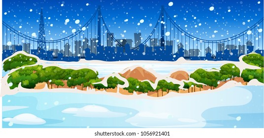 Background scene with snow in city illustration