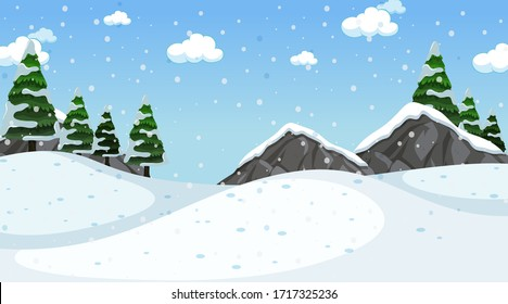 Background scene with snow in the field illustration