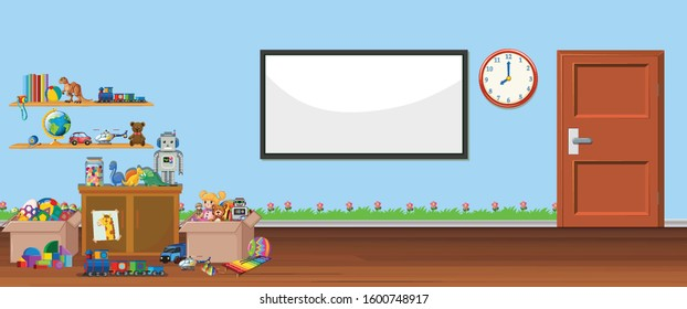 Background scene with whiteboard and toys illustration