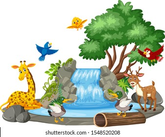 Background scene of wild animals at the waterfall illustration