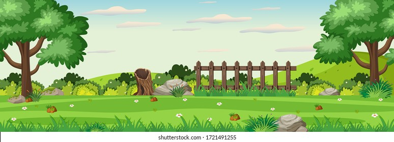 Background scene with wooden fence in the park illustration