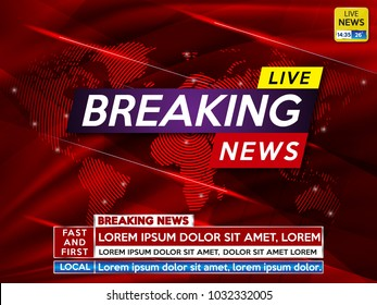 Background screen saver on breaking news. Breaking news live on red technology background and world map. Vector illustration.