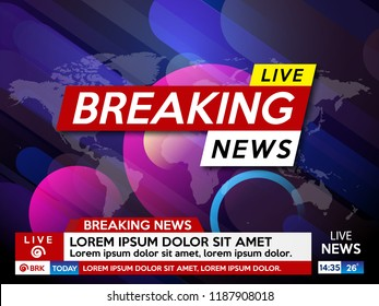 Background screen saver on breaking news. Breaking news live on blue background. Vector illustration.