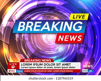 Background screen saver on breaking news. Breaking news live on abstract technological background.  Vector illustration.