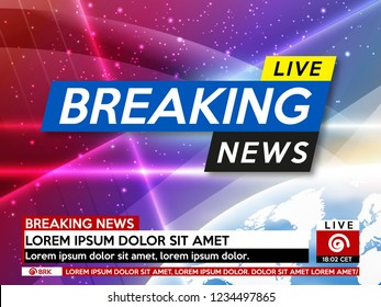 Background screen saver on breaking news. Breaking news live on pink background with planet earth. Vector illustration.