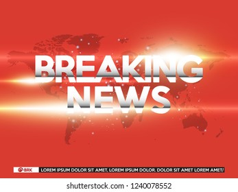 Background screen saver on breaking news. Breaking news live on red background with world map. Vector illustration.
