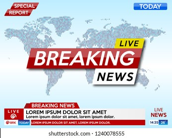 Background screen saver on breaking news. Breaking news live on blue background with world map. Vector illustration.