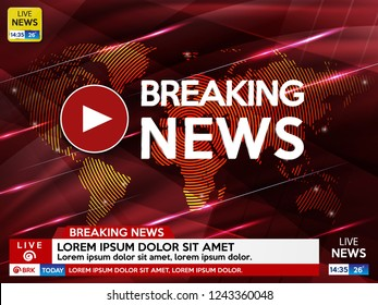 Background screen saver on breaking news. Breaking news live on red background with lights and world map. Vector illustration.