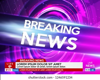 Background screen saver on breaking news. Breaking news live on pink background. Vector illustration.
