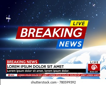 Background screen saver on breaking news. Breaking news live on earth planet background. Vector illustration.