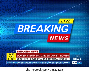 Background screen saver on breaking news. Breaking news live on blue technology background. Vector illustration.