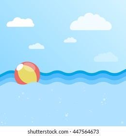 Background of sea with inflatable ball. Beach ball in water. Flat design vector illustration.