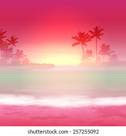 Background with sea and palm trees. Sunset time. EPS10 vector.