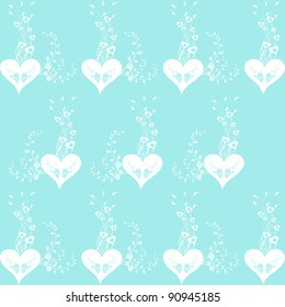 Background of seamless floral and heart pattern