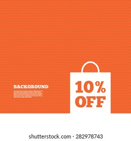 Background with seamless pattern. 10% sale bag tag sign icon. Discount symbol. Special offer label. Triangles orange texture. Vector