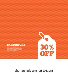 Background with seamless pattern. 30% sale price tag sign icon. Discount symbol. Special offer label. Triangles orange texture. Vector