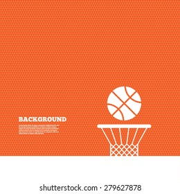 Background with seamless pattern. Basketball basket and ball sign icon. Sport symbol. Triangles orange texture. Vector