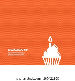 Background with seamless pattern. Birthday cake sign icon. Cupcake with burning candle symbol. Triangles orange texture. Vector