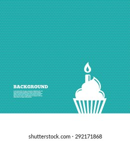 Background with seamless pattern. Birthday cake sign icon. Cupcake with burning candle symbol. Triangles green texture. Vector