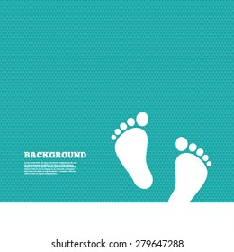 Background with seamless pattern. Child pair of footprint sign icon. Toddler barefoot symbol. Baby's first steps. Triangles green texture. Vector