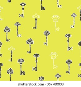 background seamless pattern with the keys to the doors, black and white keys seamless pattern & yellow background Filled