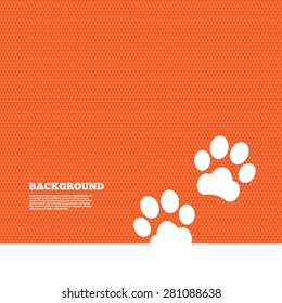 Background with seamless pattern. Paw sign icon. Dog pets steps symbol. Triangles orange texture. Vector