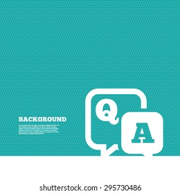 Background with seamless pattern. Question answer sign icon. Q&A symbol. Triangles green texture. Vector