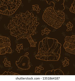 Background seamless pattern for sauna. Bathhouse hand-drawn outline items: broom, wooden basin, firewood, heating pot filled with hot stones, hat and bathrobe. Endless template