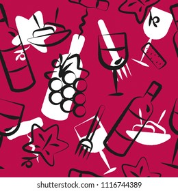 background seamless pattern with wine and appetizer food icons. Icons with brush strokes. CMYK color. Vector illustration.