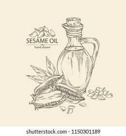 Background with sesame and sesame oil: sesame seeds and bottle of sesame oil. Vector hand drawn illustration