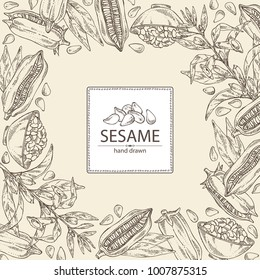 Background with sesame: sesame plant and sesame seeds Vector hand drawn illustration