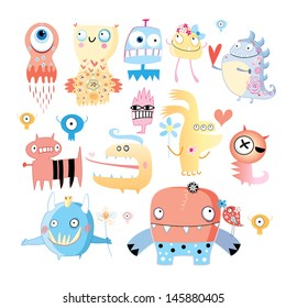 background with a set of amusing multi-colored monsters on white