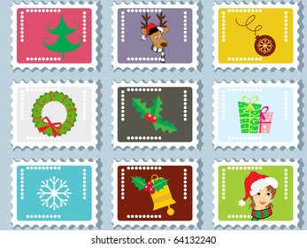 background with set of merry xmas stamp, vector illustration