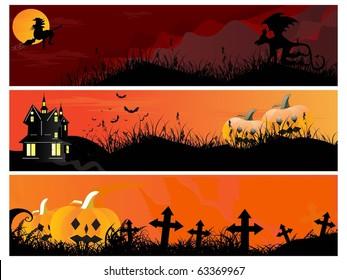 background with set of three halloween header