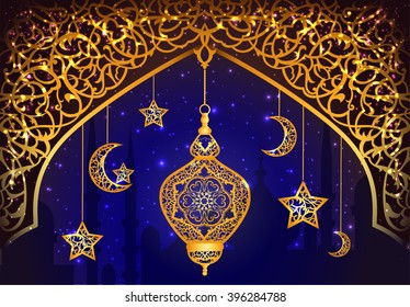 Background with shiny arabic lantern of golden floral design, background for holy moth of muslim community Ramadan Kareem, EPS 10 contains transparency