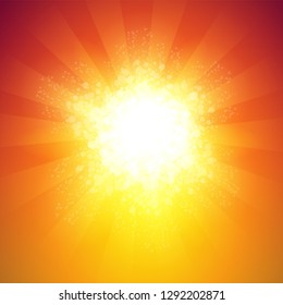 Background with Shiny burst in warm colors with rays of light. Great backdrop with copy space.