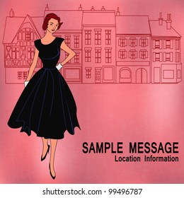 Background shopping illustration with a traditional high street and an elegant girl with a 1950's feel